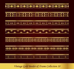 Vintage Gold Border Frame Vector Collection Stock Illustration