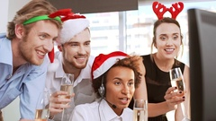 Young cheerful business colleagues having video-call greeting giving toasts Stock Footage