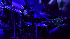 The drummer plays the drums fiercely Stock Footage