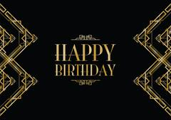 Happy birthday art deco invitation Stock Illustration