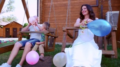 Holiday for dad mom and baby, portrait of a happy family on a summer vacation Arkistovideo