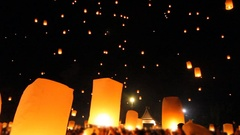 Release floating lanterns to the sky , Lantern festival, Chiang Mai, Thailand Stock Footage