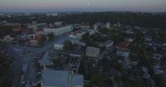 Camera descends over Kamianets-Podilski at dusk Stock Footage