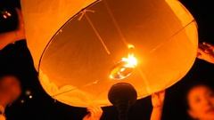 Prepare release floating lanterns to the sky , Lantern festival Arkistovideo