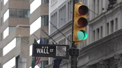 Wall St sign & Traffic Signal, Manhattan Stock Footage