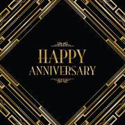 Happy anniversary art deco invitation Stock Illustration