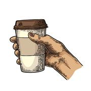 Female hand holding a disposable cup of coffee with cardboard holder and cap. Stock Illustration