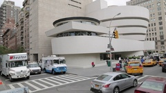 Guggenheim Museum from open top bus, Manhattan Stock Footage