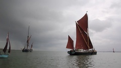 Thames sailing barges at sea Stock Footage