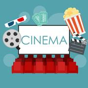 Abstract Cinema Flat Background with Reel, Old Style Ticket, Big Stock Illustration
