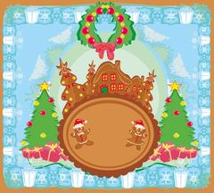 Christmas card with a ginger-bread and funny landscape Stock Illustration