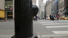Fire Hydrant & Traffic in Midtown, Manhattan Stock Footage