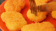 Fresh cooked chicken nuggets for lunch Stock Footage