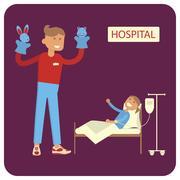 Volunteers help ill kids Stock Illustration