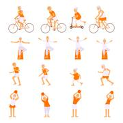 Set Elderly people doing exercises Stock Illustration
