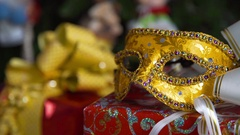 Christmas mask, holiday gifts Stock Footage