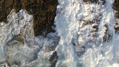 Aerial. The magic wave motion on the rocks, view from the sky.Portugal Stock Footage