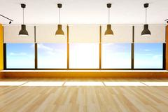 Empty room and parquet floor with large windows and ceiling lamps Stock Illustration