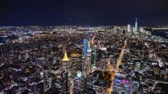 USA, New York City, Manhattan aerial panorama cityscape skyline. Timelapse. Far Stock Footage