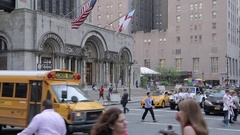Yellow School Bus on 51st Street, Manhattan Stock Footage