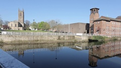 Cathedral and Silk Mill, River Derwent, Derby Derbyshire Stock Footage