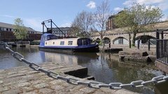 Long Boats in the Sheffield Basin, City Centre, Sheffield, South Yorkshire Stock Footage