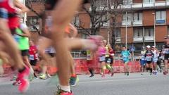 Urban marathon through the streets of the city Stock Footage