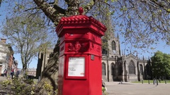 Cathedral & Red Post Box in City Centre, Sheffield, South Yorkshire Stock Footage