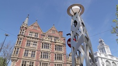 Steel Street Lamp in City Centre, Sheffield, South Yorkshire Stock Footage