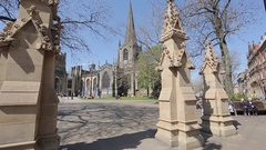 Cathedral in City Centre, Sheffield, South Yorkshire Stock Footage