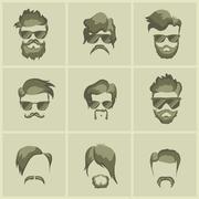 Mustache beard glasses hairstyle Stock Illustration