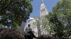 Statue in Madison Square Park, Manhattan Stock Footage