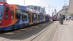 Supertram in City Centre, Sheffield, South Yorkshire Stock Footage