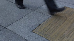 Bronze Floor Mozaic near Grand Central Terminal, Manhattan Stock Footage