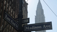 Chrysler Building, Madison Avenue & 42nd Street Signs, Manhattan Stock Footage