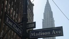 Chrysler Building, Madison Avenue & 42nd Street Signs, Manhattan Stock Footage