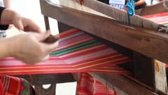 Thai traditional handmade textile weaving Stock Footage