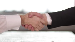 City Businessmen Shaking Hands on Business Deal Stock Footage