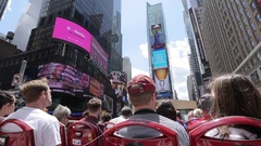 Open Top Bus ride into Times Square, Manhattan Stock Footage