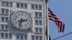 Clock & American Flag, Flat Iron District, Manhattan Stock Footage