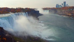 Aeril view of Niagara Falls US side Stock Footage
