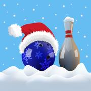 Vector Christmas bowling ball with Santa cap and pin on snowing background Stock Illustration