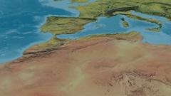 Revolution around Atlas mountain range - masks. Topographic map Stock Footage