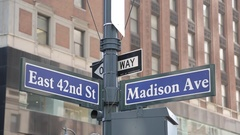 Madison Avenue & 42nd Street Signs, Manhattan Stock Footage