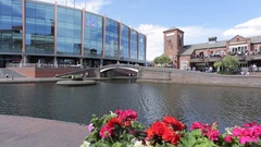 Birmingham Canal Old Line & Arena, Birmingham, West Midlands Stock Footage