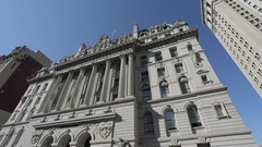 Ornate building surrounding City Hall Park, Manhattan Stock Footage
