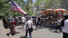 5th Avenue Vendors at Central Park, Manhattan Stock Footage