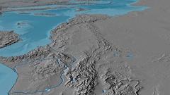 Glide over Atlas mountain range - masks. Elevation map Arkistovideo