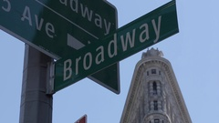 Broadway Sign & Flat Iron Building, Manhattan Stock Footage