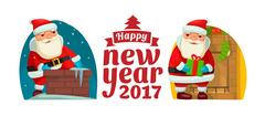 Santa Claus climbed the Chimney. Flat vector illustration Merry Christmas Stock Illustration